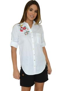 Camisa Mamorena Bordada Barra Arredondada Branca