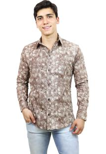 Camisa Slim Victor Deniro Bege Brush