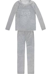 Pijama Feminino Em Plush Com Bordado Frontal