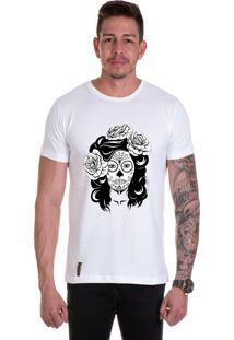 Camiseta Lucas Lunny T Shirt Gola Redonda Caveira Mulher Branca