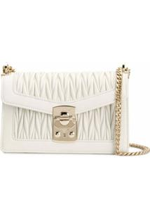 Miu Miu Confidential Matelassé Crossbody Bag - Branco