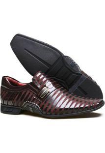 Sapato Social Calvest Couro Nobuck Costuras Manuais Masculino - Masculino-Bordô