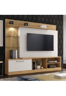 Estante Home Theater Para Tv Até 65 Polegadas Flórida Plus Mavaular Damasco/Off White