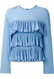 Marni Blusa Com Babados - Azul