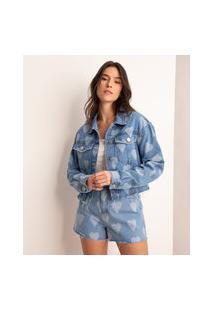 Jaqueta Cropped Jeans Estampada De Corações Azul Escuro