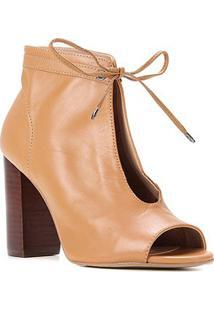 Ankle Boot Couro Shoestock Salto Alto Amarração - Feminino