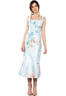 Vestido Midi Izadora Lima Brand Em Zibeline Estampado Feminino - Feminino-Azul Claro