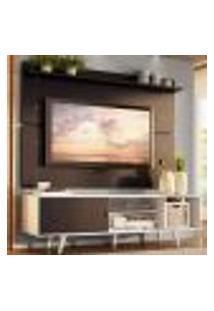 Rack Madesa Dubai E Painel Para Tv Até 65 Polegadas Com Pés - Branco/Preto 7377