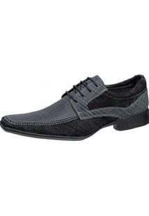 Sapato Social Gasparini Estampa Azul/Preto