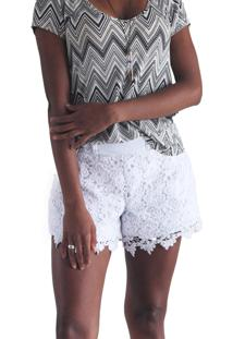 Shorts Sarja It'S Moda De Renda Flor Branco