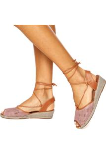 Sandália Dafiti Shoes Amarração Renda Rosa