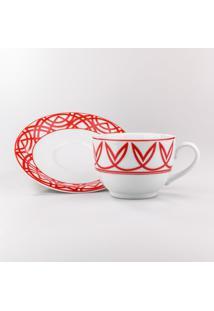 Conjunto De Xicaras Para Chá C/ Pires Porcelana Schmidt 06 Peças - Dec. Helena