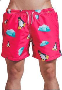 Short Verão Impermanence Estampa Don Pinguino Masculino - Masculino-Vermelho