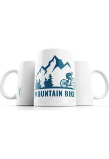 Caneca Punnto Mountain Bike - Unissex-Branco+Azul