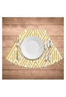 Jogo Americano Para Mesa Redonda Wevans Abstract Yellow Kit Com 4 Pçs
