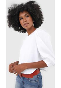 Camiseta Cropped Forum Mangas Bufantes Branca - Kanui