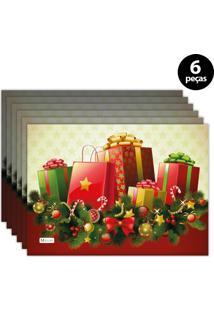 Jogo Americano Mdecore Natal Presentes 40X28 Cm Bege 6Pçs