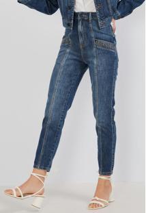 Calça Jeans Reta Azul