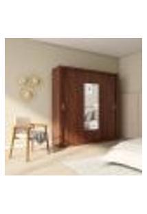 Guarda-Roupa Casal Com Espelho Paola Premium 3 Pt 4 Gv Café