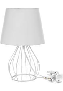 Abajur Cebola Dome Branco Com Aramado Branco - Branco - Dafiti