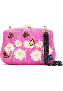 Serpui Clutch De Palha Bordada - Rosa