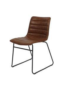 Cadeira Budd Assento Courino Marrom Com Base Aco Preto - 48056 Preto