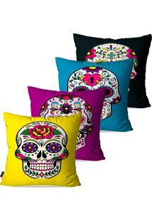 Kit Com 4 Capas Para Almofadas Pump Up Decorativas Coloridas Caveiras Mexicanas 45X45Cm