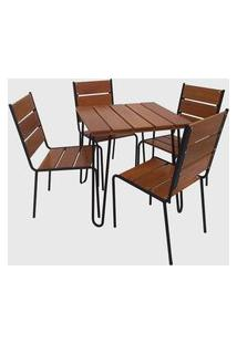 Conjunto De Mesa Em Aço Pintado E Madeira C/ 04 Cadeiras Preto Pressa Móveis