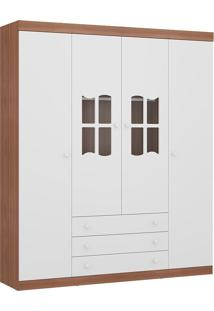 Guarda-Roupa Mondolate Plus Carvalho E Branco Com 4 Portas E 3 Gavetas - Multimóveis