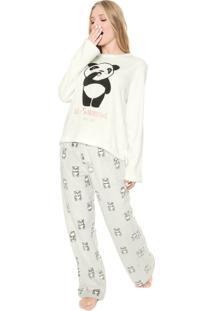 Pijama Any Any Panda Branco/Cinza