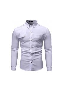 Camisa Masculina Slim Detail - Branca