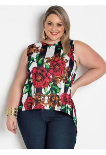 Regata Transpassada Nas Costas Floral Plus Size