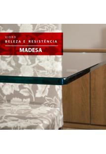 Mesa Madesa Quadrada Tampo De Vidro 5363 Rustic/Crema
