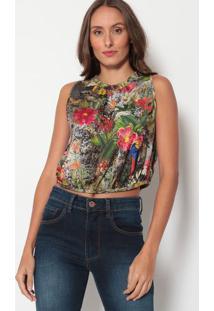 Blusa Cropped Floral- Cinza & Verde- Tritontriton