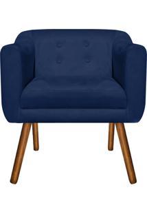 Poltrona Decorativa Julia Suede Azul Marinho - D'Rossi