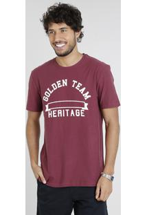 "Camiseta Masculina ""Golden Team"" Manga Curta Gola Careca Vinho"