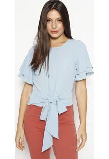 Blusa Texturizada Com Amarração - Azul Claromoiselle