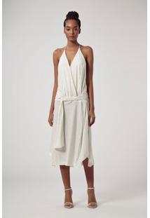 Vestido De Malha Glitter Off White Midi Com Alça Fina E Faixa Na Cintura Off White