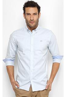 Camisa Lacoste Slim Listras Manga Longa Masculina - Masculino-Azul Claro