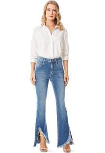 Calça Iódice Boot Cut Cós Alto Barra Desfiada Jeans Feminina - Feminino