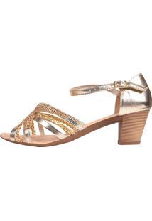Sandália Romântica Calçados Salto Grosso Dourado - Kanui