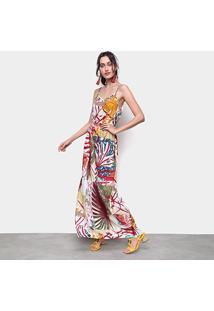 Vestido Ms Fashion Longo Floral Alças - Feminino-Amarelo