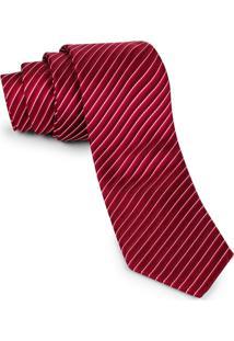 Gravata Pierre Cardin Tradicional Vermelha Listras Crop
