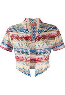 Missoni Mare Blusa Cropped Com Bordado Abstrato - Rosa