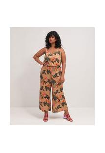 Macacão Pantacourt Estampado Curve & Plus Size | Ashua Curve E Plus Size | Marrom | Gg
