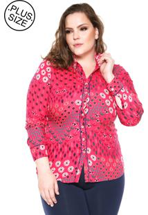 Camisa Wee! Reta Estampada Plus Size Rosa/Azul