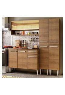 Cozinha Compacta Madesa Emilly Winter Com Armário Vidro Reflex E Balcáo Marrom