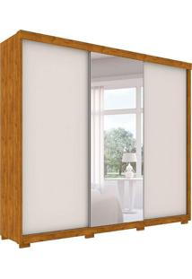 Guarda Roupa Otawa Robel 3 Portas De Correr C/ Espelhos Nature Off White Robel Móveis