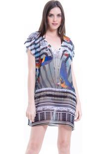 Blusa 101 Resort Wear Estampada Araras Bege