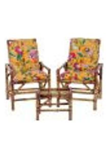 Conjunto Mesa E 2 Cadeiras De Bambu Cancun Para Área Edicula Jardim G28